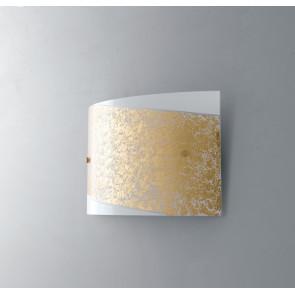 I-PARIS/4525 ORO - Applique Fascia Oro Vetro Bianco Rettangolare Lampada Moderna E27