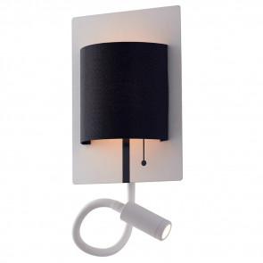 LED-POP-WB - Applique murale moderne Lampe de lecture flexible Abat-jour en métal blanc noir Led 9 W lumière naturelle