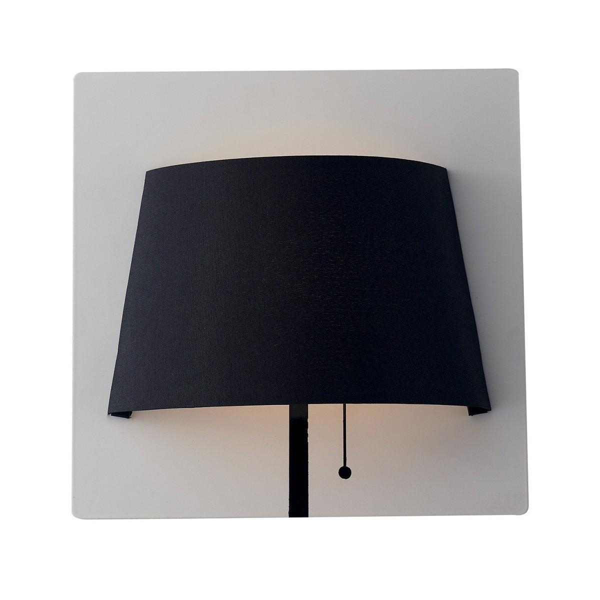 LED-WHAROL-WB - Applique Lampada da Parete Moderna Metallo Bianco Paralume Nero Led 6 watt Luce Naturale