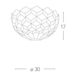 Applique Liberty a Lunetta in Vetro con Decoro Geometrico FanEurope