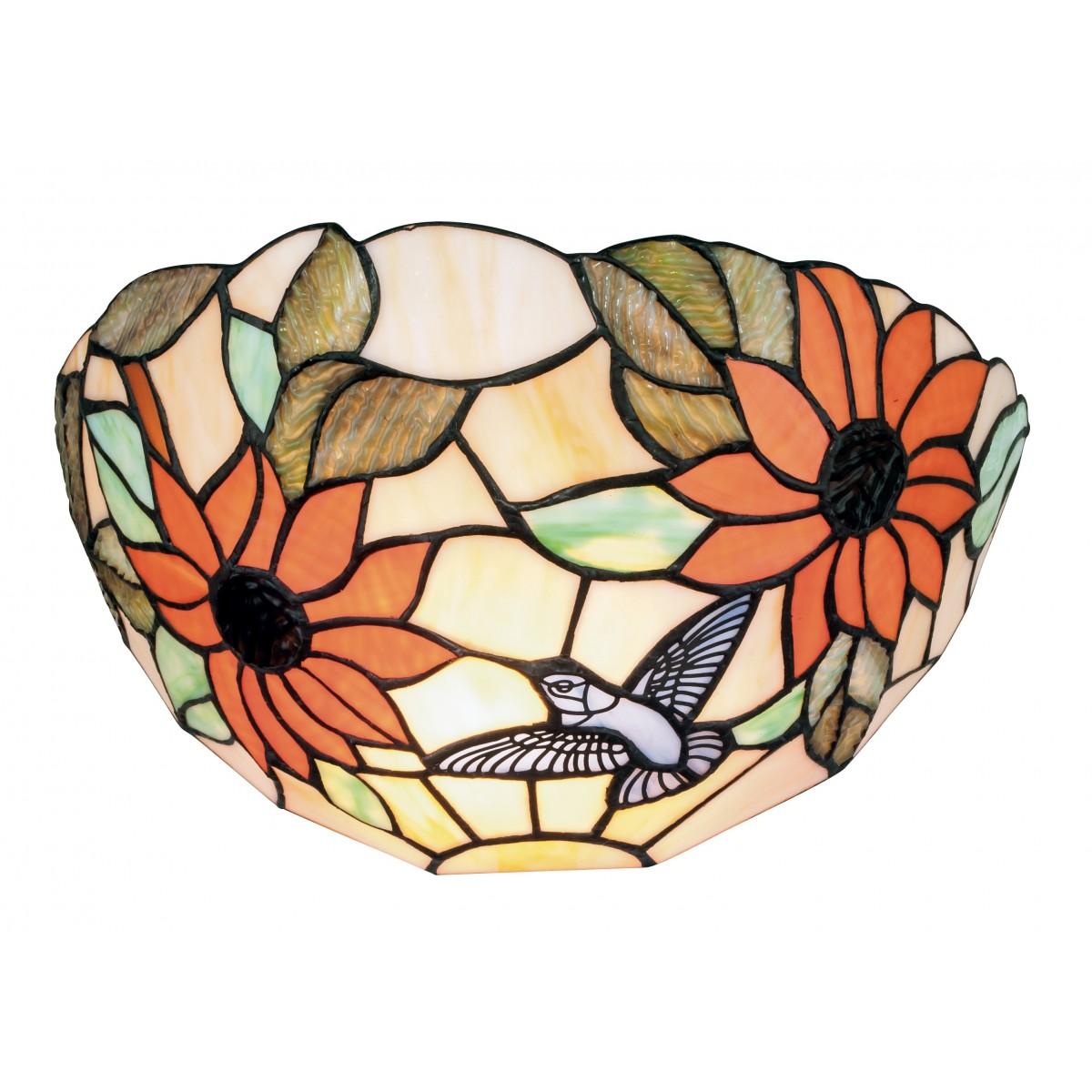 I-DAFNE-AP - Lampe à lunette classique en verre coloré à appliques florales E27