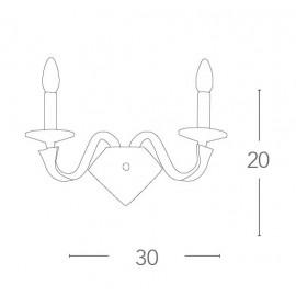 I-OTHELLO/AP2 - Applique Ecopelle Marrone Finiture Cromate Cristallo K9 Lampada da Parete Moderna E14