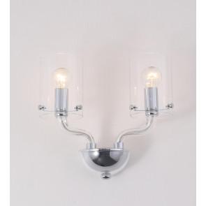 I-AURORA-AP2 TR - Applique Lampada Moderna Vetro Trasparente Finiture Cromo E14