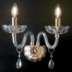 I-RIFLESSO/AP2 ORO - Applique Finiture Oro Cristallo Gocce Trasparente Lampada da Parete Classica E14