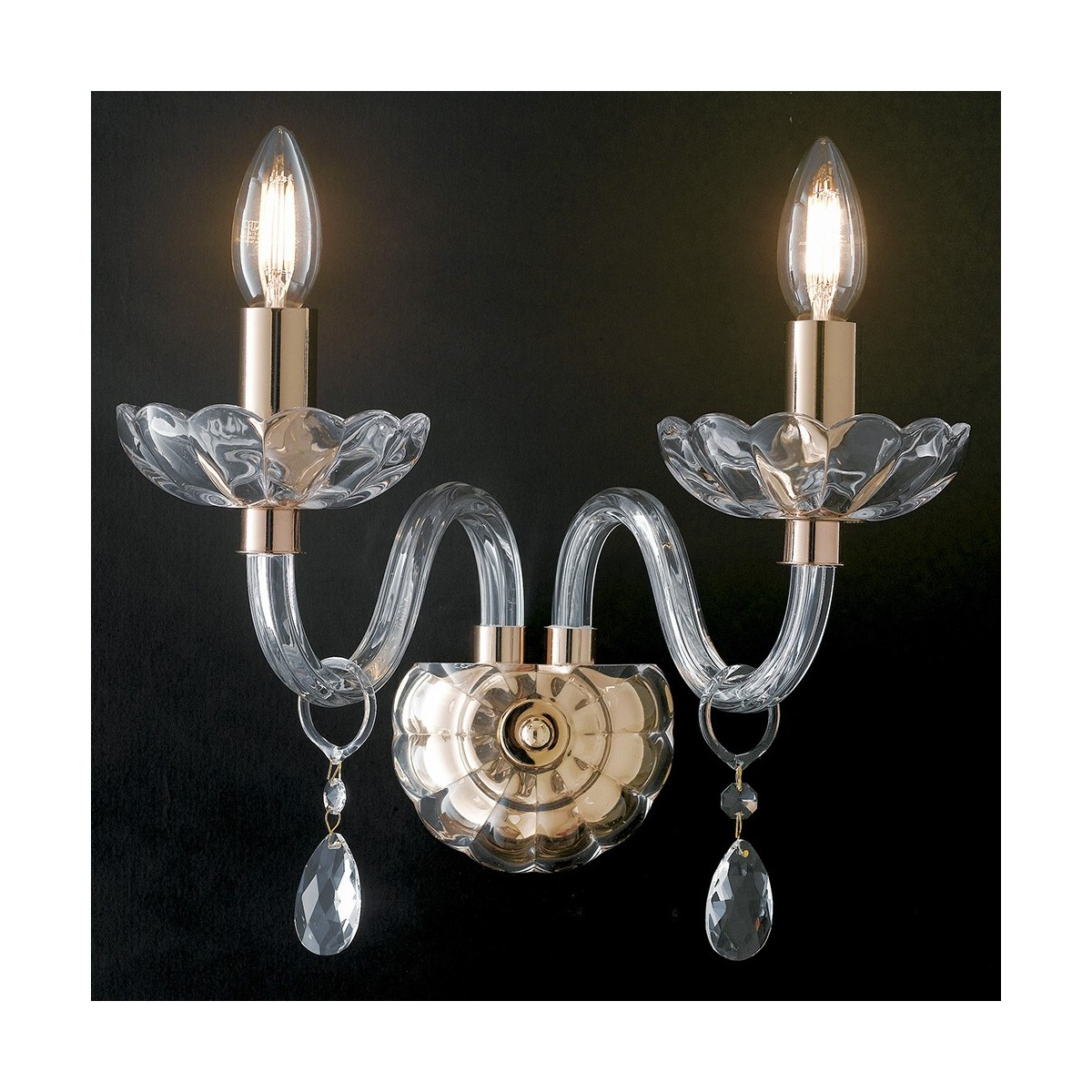 I-RIFLESSO / AP2 ORO - Applique Cristal Finition Or Gouttes Applique Murale Classique Transparente E14