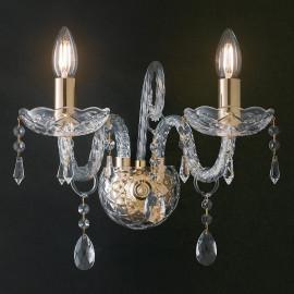 I-MONALISA/AP2 - Applique Gocce Cristalli K9 Vetro Finiture Oro Lampada da Parete Classica E14