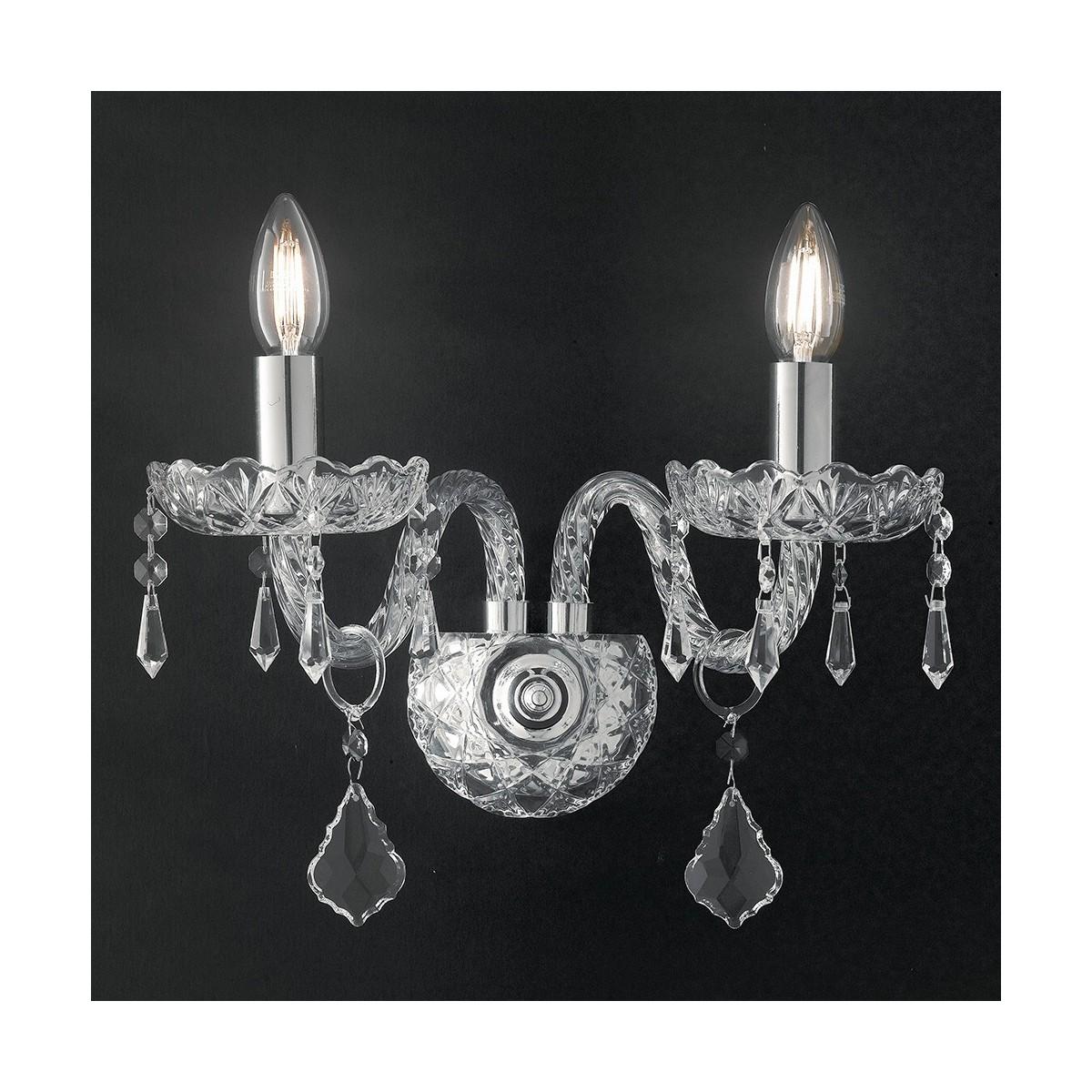 I-INCANTO/AP2 - Applique Vetro Cristallo Finiture Cromo Lampada da Parete Classica E14