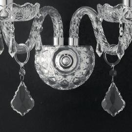 Struttura in Vetro Cristallo con Finitura Cromo e eleganti Pendenti Linea Incanto