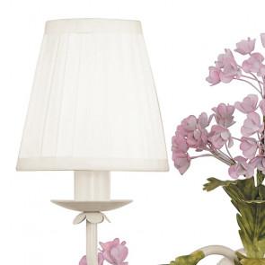 Applique Ortensia 2 luci con Paralumi in Tessuto Bianco e Decoro Floreale