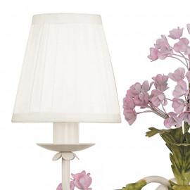 Applique murale Hortensia 2 lumières avec abat-jour en tissu blanc et décoration florale