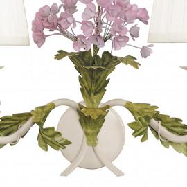 Cadre en métal blanc avec fleurs décorées à la main Hortensia Fan Europe Line