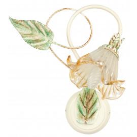 Applique Primavera in Metallo Bianco Dipinto Verde e Oro con Paralume in Vetro Champagne FanEurope