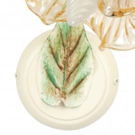 I-PRIMAVERA/AP1 - Foglia Decoro in Metallo Dipinto a Mano Verde Oro