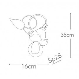 I-PRIMAVERA/AP1 - Applique Floreale Decoro a Mano Metallo diffusore Vetro Lampada Classica E14