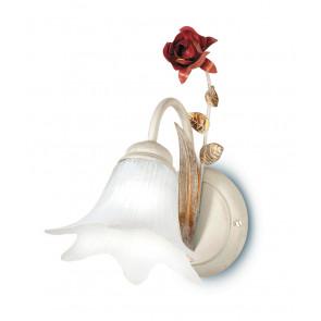 ROSE/AP1 - Applique Una Luce Rose Metallo Bianco Rosso diffusore Vetro Lampada Classica E14
