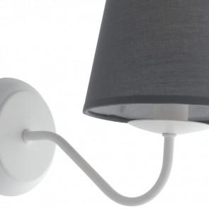 Applique con Paralume in Tessuto Grigio e Struttura in Metallo Bianco Lampada Favola FanEurope