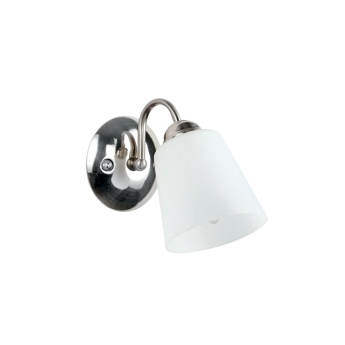 Lampade Da Parete Con Braccio i-1162/ap nik - applique nickel con braccio dalla linea morbida 40 watt e14