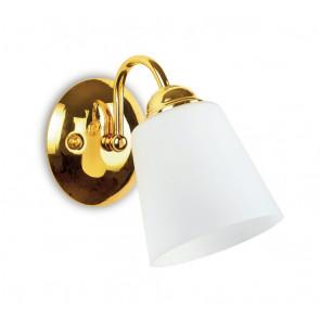 I-1162 / AP GOLD - Applique Classique Abat-jour Métal Doré Verre Soufflé Intérieur E14