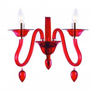 I-ESTEFAN-AP2 RSO - Applique Pendagli Gocce Acrilico Trasparente Rosso Lampada Moderna E14
