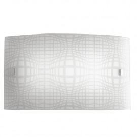 Applique Project Rettangolare in Vetro Bianco con Disegno a Rete Grigio Fan Europe