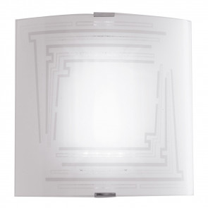 Applique Concept Quadrata in Vetro Bianco con Decoro Glitterato
