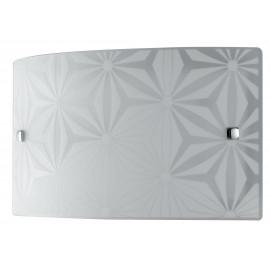 I-EXAGON/AP3520 - Applique Vetro Bianco Rettangolare Disegno Fiori Interno Moderno 16 watt Luce Naturale