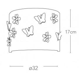 Diffuseur en acier chromé gravé au laser avec décorations de papillons et de fleurs.