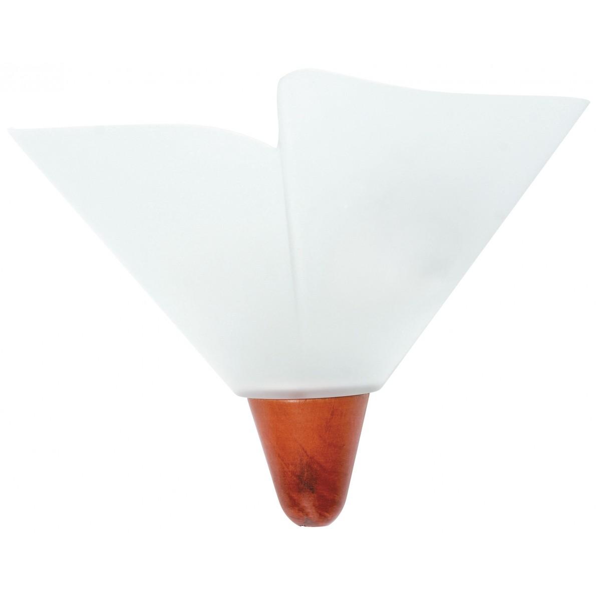 I-BREST/APS - Applique Vetro Bianco Legno Lampada da Parete Classica E27