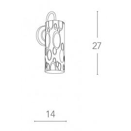 Applique Bubble con Struttura in Metallo e Paralume Cilindrico in Vetro Decorato da Bolle Cromate