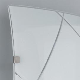 Applique Alexia in Vetro con Decoro Geometrico Inciso Bianco