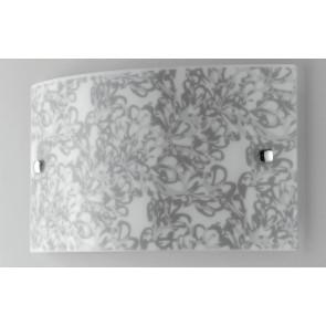 I-LOTUS / AP3520 - Applique murale rectangulaire décoration en verre satiné Fleurs gris tourterelle Led 16 W lumière naturelle