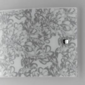 Diffuseur en verre satiné avec décoration de fleurs de lotus grises Lotus Fan Europe Line