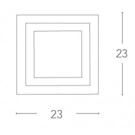 Applique Quadrata in Vetro Bianco con Decoro Cromo Specchiato FanEurope