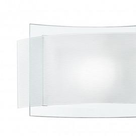 Double diffuseur en verre avec décoration rayée et appliques en verre transparent Stripes Fan Europe