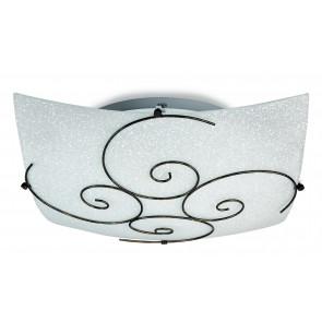 I-070207-5 - Plafonnier carré Curls Lampe métal antique verre satiné classique E27