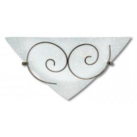 I-070207-8 - Applique Triangolare Riccioli Metallo Anticato Vetro Satinato Lampada da Parete Classica E27