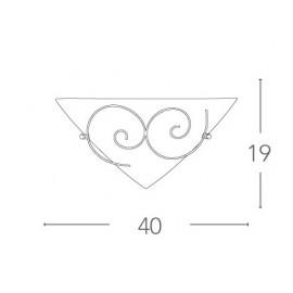 I-070207-8 - Applique triangulaire boucles métal antique verre satiné applique murale classique E27