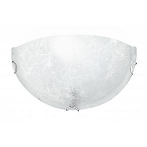 03/03712 - Applique Lunetta Bianca Vetro Decorato Lampada da Parete Classica E27