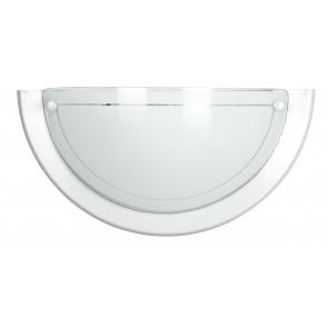 07/01000 - Applique Classica Vetro Bianco Cornice Metallo Bianco Lampada da Parete e27