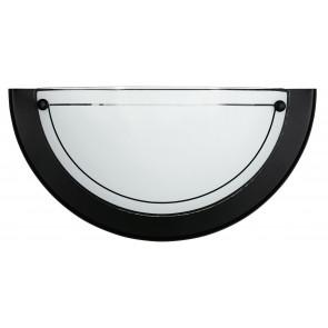 07/01100 - Applique Lunetta Cornice Metallo Nero Vetro Bianco Interno Classico E27