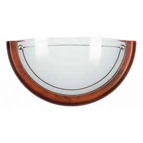 07/02012 - Applique classique Lunette en verre blanc Cadre en bois Lampe classique E27