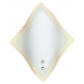 64/01912 - Applique Vetro Bianco Bordo Ambrato Rombo Lampada da Parete Moderna E27