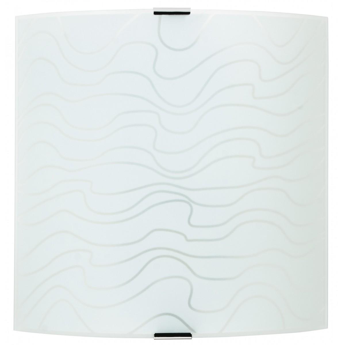 272/00412 - Applique murale carrée en verre blanc avec décoration intérieure moderne E27