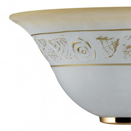 Diffusore in Vetro Bianco Sfumato Ambra con Decoro a Rose Oro Linea Rosy FanEurope