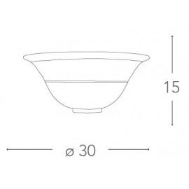 Applique en verre dégradé ambre avec ligne florale grecque or rose