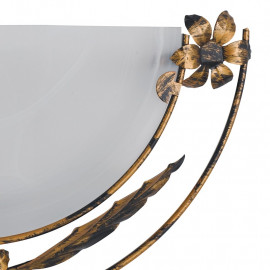 Diffuseur en verre albâtre avec cadre en métal orné de fleurs Hérisson Line Fan Europe