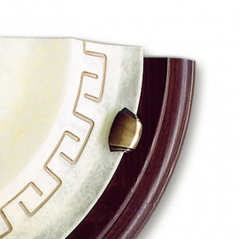 Diffusore in Vetro Marmo Ambrato con Greca Decorativa e Cornice in Legno Applique Trecento FanEurope