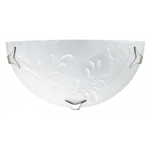 206/02800 - Applique Lunetta Classica Vetro Alabastro Bianco decoro Floreale Bianco Lampada da Parete E27