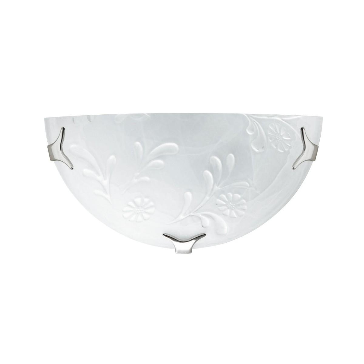 206/02800 - Applique Classique Lunette Blanche Verre Albâtre Floral Décoration Murale Blanche E27