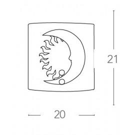 Applique Quadrata in Vetro Azzurro con Sole Luna Disegnati FanEurope